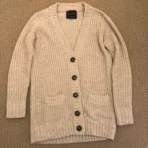 Knit cardigan with elbow patches